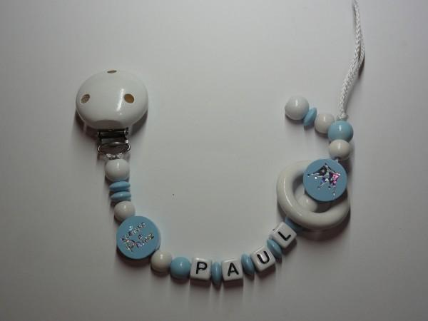 Baby Schnullerkette mit Namen - Krone kleiner Prinz in blau