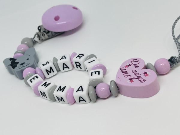 Baby Schnullerkette mit Doppelnamen - Bulldogge Was Liebe bedeutet rosa grau