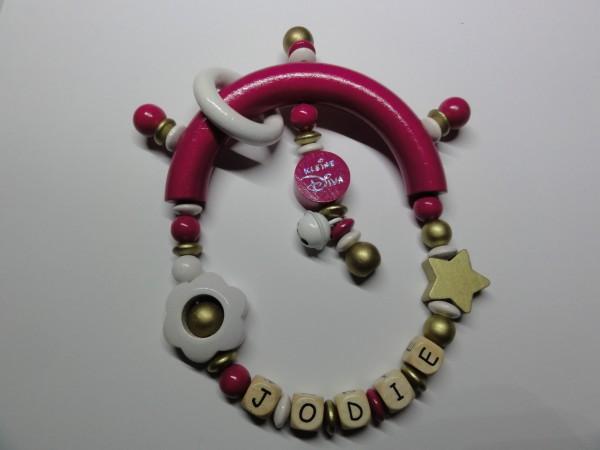 Baby Greifling mit Namen - kleine Diva in pink