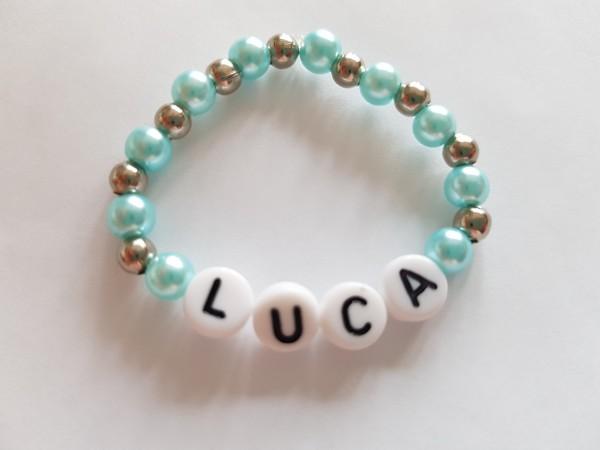 Baby Armband mit Namen in blau